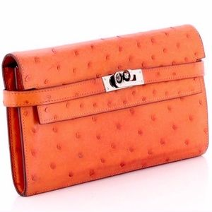 NWT HERMES Kelly Long Wallet in Orange Ostrich